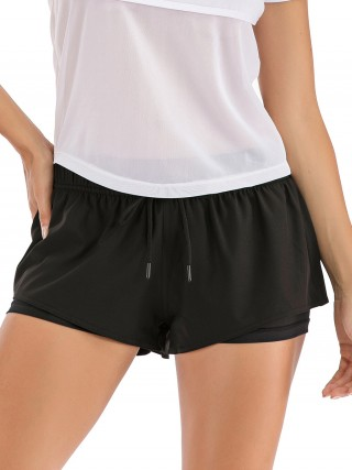 Premium Quality Black Drawstring Sports Shorts Back PocketFor Women