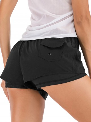 Functional Black Drawstring Sports Shorts Back Pocket For Women