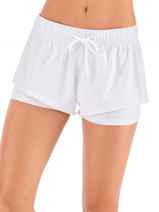 Skinny White Solid Color Running Shorts Ruched Lightweight