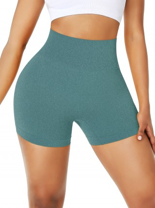 Elasticated Dark Green Athletic Shorts Seamless Wide Waistband Sports