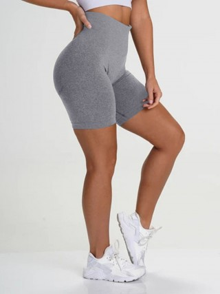 Naughty Gray Wide Waistband Seamless Running Shorts Supper Fashion