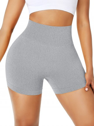 Splendor Light Gray High Rise Mid-Thigh Length Shorts Ultra Cheap