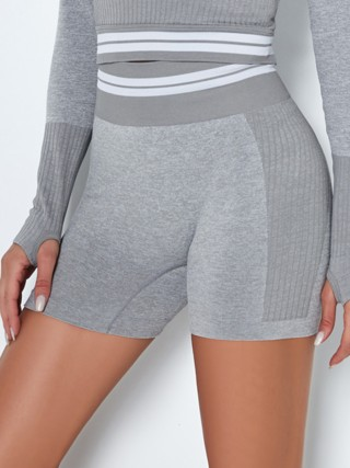 Light Gray High Waist Stripe Seamless Biker Shorts For Female