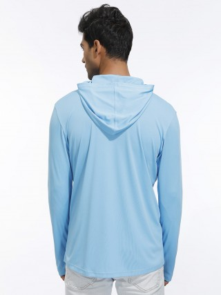 Female Blue Hooded Zipper Sport Top Thumb Hole Form Fitting