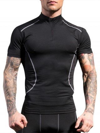 Passionate Black Stand-Up Collar Sports Top Zipper Breath