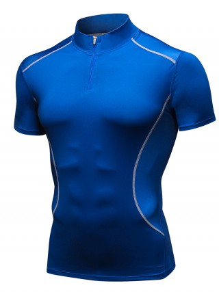 Gorgeous Royal Blue Patchwork Mesh Athletic T-Shirt For Fitness