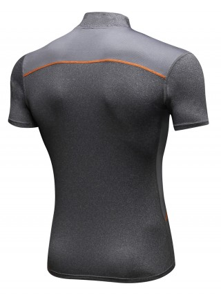 Fashion Gray Running T-Shirt Mesh Short Sleeve Elastic