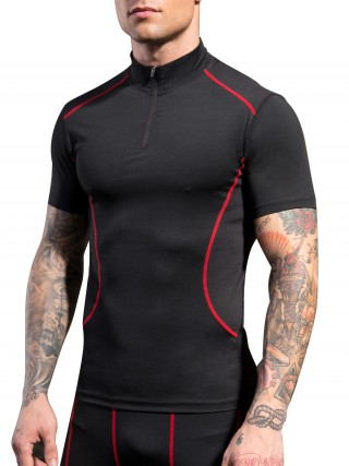 Incredibly Red Short Sleeve Mesh Running Top For Male Runner