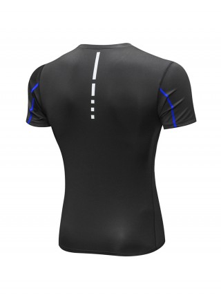Curve Smoothing Blue Reflective Stripe Men's Running Top High Quality