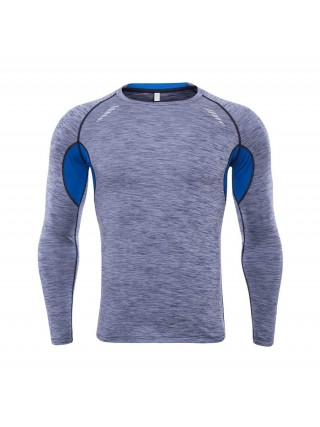 Soft Gray Sports Top Full Sleeve Crew Neck Quick Drying