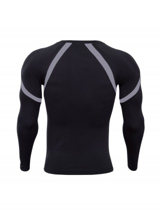 Body Sculpting Gray Athletic Top Patchwork Long Sleeve Men