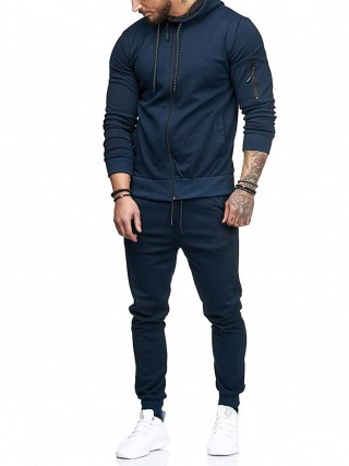 Classy Dark Blue Full Sleeve Drawstring Sweat Suit Fashion Shop Online