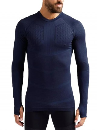Nautically Dark Blue Long Sleeve Hip-Length Running Top Fashion