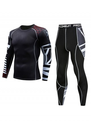 Striking Colorblock Men Sport Suit Queen Size Activewear