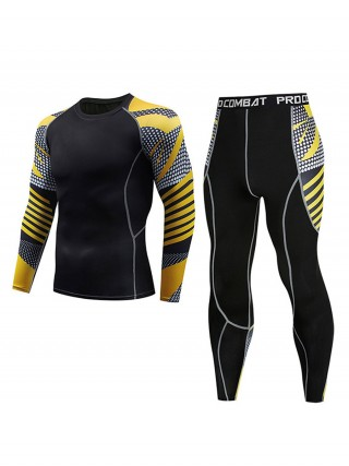 Elegant Patchwork Man Activewear Set Big Size For Exercising