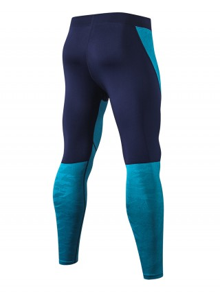 Comfy Royal Blue Colorblock High Stretch Leggings For Hanging Out