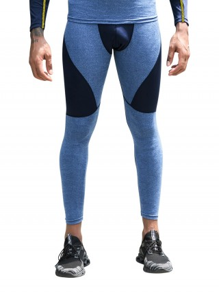 Lightweight Dark Blue Contrast Color Men's Leggings High Rise