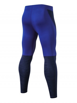 Exquisitely Navy Blue Fast Drying Sports Leggings Patchwork For Male