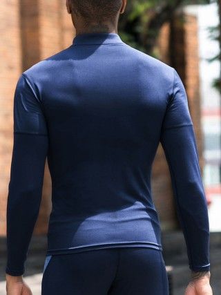 Vintage Dark Blue Raglan Sleeve Running Top Half-Zip Leisure Wear