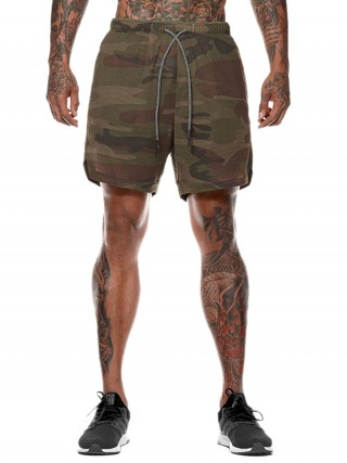Curve Smoothing Army Green Camouflage Print Shorts Drawstring