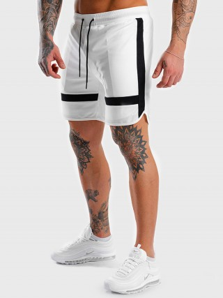 White Drawstring Men's Shorts Elastic Waist Fabulous Fit