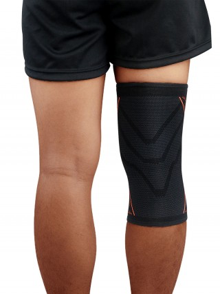 Stretch Orange Sports Kneepad Non-Slip Insert For Workout
