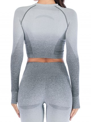 Sleek Gray Crew Neck Athletic Top Long Sleeve Ultra Hot