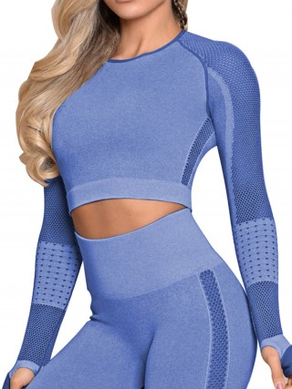 Fitness Royal Blue Full Sleeves Yoga Crop Top Thumbhole Quick Drying