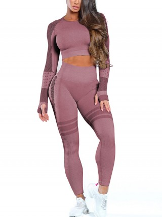 Sensual Silhouette Wine Red Mesh Patchwork Yoga Top Crew Neck For Ladies