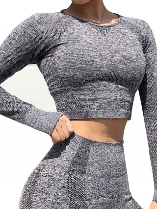 Cutie Dark Gray Long Sleeve Thumbhole Sports Crop Top Glamor