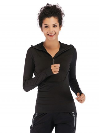 Fantastic Black Long Sleeve Top Hooded Collar Pocket For Female Runner