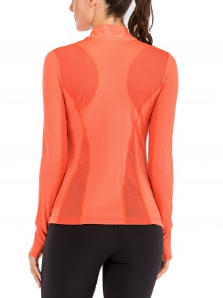 Captivating Orange High Neck Running Top Long Sleeve Zipper For Lounging