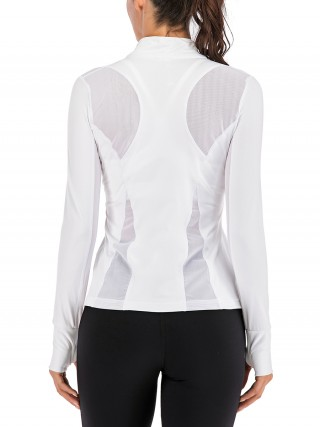 Unique White Sheer Mesh Athletic Top Full Sleeve Slim