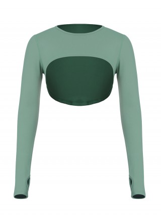 Green High-Low Hem Top Thumbhole Full Sleeve Fabulous Fit