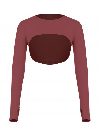 Jujube Red Long Sleeve Running Top Crew Neck Ladies Sportswear