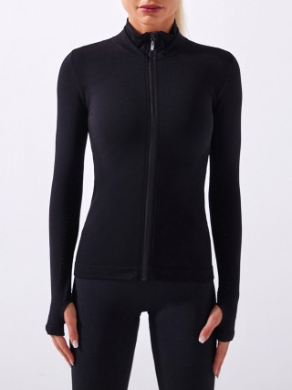 Black Long Sleeves Seamless Zipper Sports Jacket Sweat Absorption