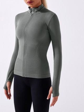 Gray Zipper Sports Jacker Seamless Stand Collar Tops Best Materials