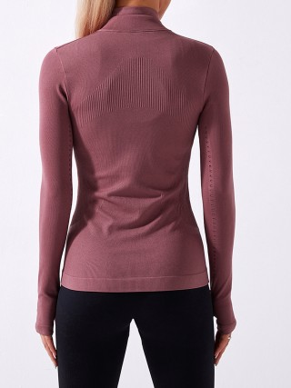 Red Stand Collar Full Zip Thumbhole Sports Top For Ladies