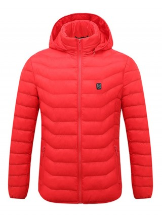 Liberty Trendy Red Long Sleeve Solid Color Heating Coat Outdoor Activity