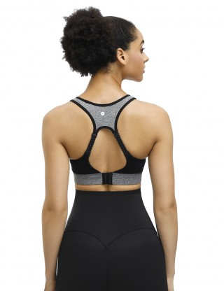 Gray Racerback Sports Bra Hollow-Out Straps Understated Design
