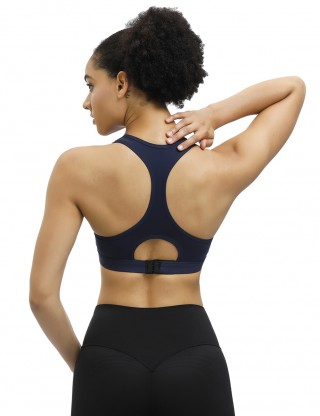 Tight Royal Blue Hollow-Out Sports Bra Racerback Straps Ladies