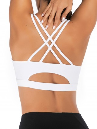 Dreamlike White Sports Bra Square Neck Double Sling Stretch
