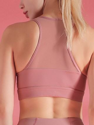 Premium Light Pink Mesh Patchwork Sports Bra I-Shaped Good