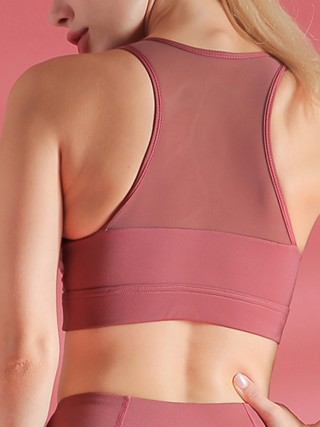 Ultra-Skinny Jujube Red I-Shaped Yoga Bra Mesh Shockproof