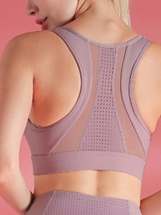 Unvarnished Light Purple I-Shaped Yoga Bra Mesh Patchwork