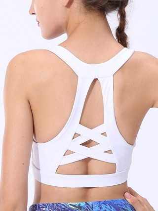 Plain White Cross Backless Shockproof Yoga Bra Breathable