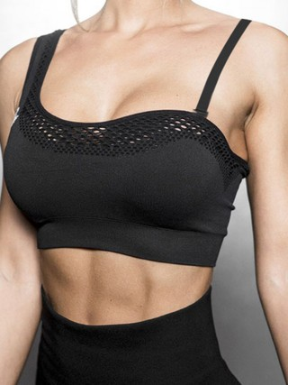 Unique Black Workout Bra Detachable Straps Seamless Essential