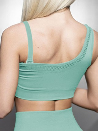 Lavish Green Athletic Bra Open Back Mesh Seamless Slim Fit