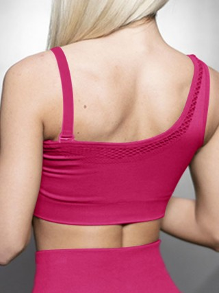 Slimming Rose Red Solid Color Workout Bra One Shoulder Online