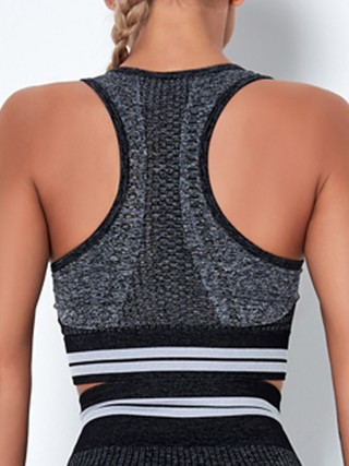 Wholesale Black Colorblock Seamless Wide Strap Sports Top Lose Weight